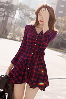 Irregular Hem Checkered Long Sleeve Mini Dress (Red/Black) - 3