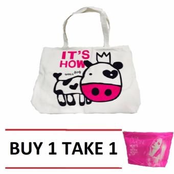 Isabel K001 Trendy Canvas Tote Bag Buy 1 Take 1 (Cow)