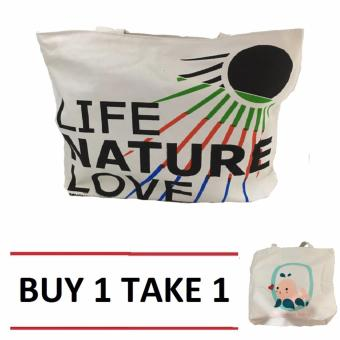 Isabel K001 Trendy Canvas Tote Bag Buy 1 Take 1 (Nature)