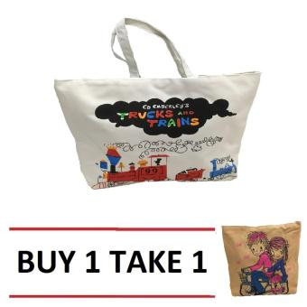 Isabel K001 Trendy Canvas Tote Bag Buy 1 Take 1 (Trains)