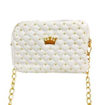 Isabel K024 Trendy Quilted Shoulder Crossbody Bag (White)