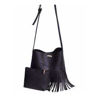 Isabel K027 Fringed Sling Bag with Matching Coin Purse (Black)