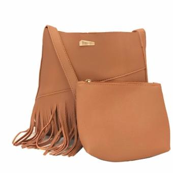 Isabel K027 Fringed Sling Bag with Matching Coin Purse (Brown)