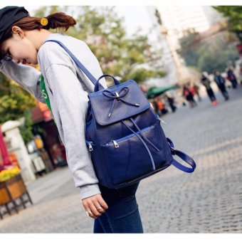 Isabel K065 Stylish Backpack with Matching Pouch (Blue)