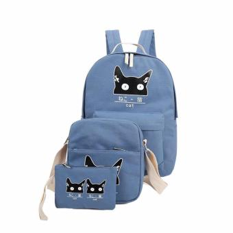 Isabel K070 Fashionable Backpack with Sling Bag and Matching Purse(Blue)