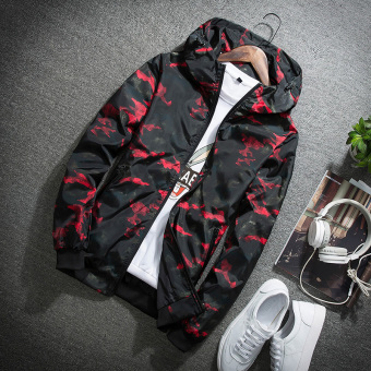 Jacket Korean-style New style Spring and Autumn hooded camouflage coat jacket (Red)