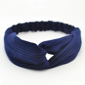 J&C Turban Head Wrap Knotted Hair Style (Blue)