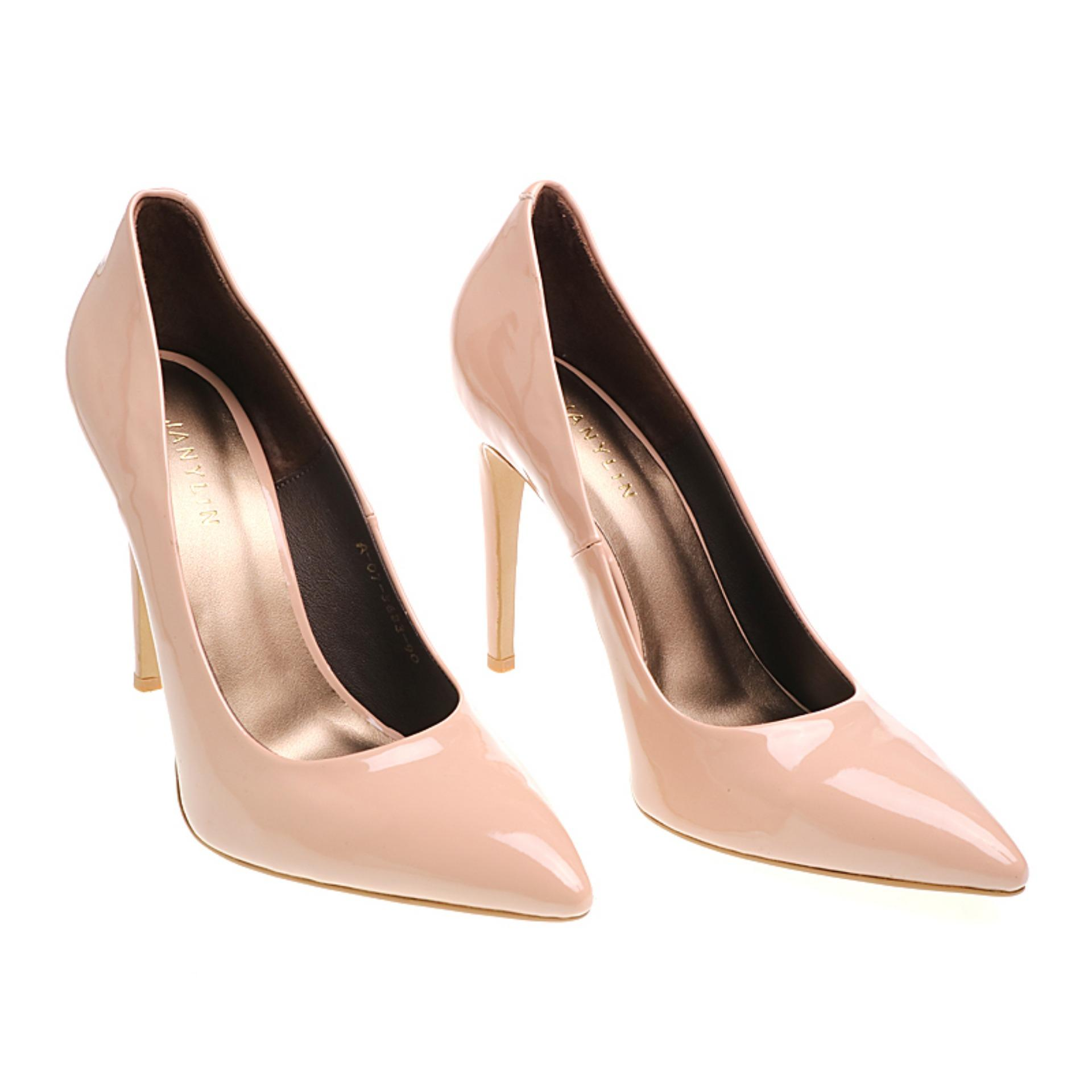 Janylin Patent Pointed High Heel Pumps (Nude) | Lazada PH