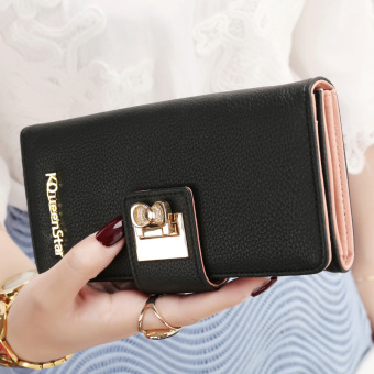 Japan and South Korea female zip buckle leather wallet women's wallet (Black)