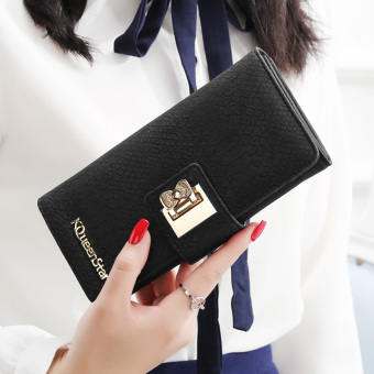 Japan and South Korea female zip buckle leather wallet women's wallet (Crocodile pattern-black)