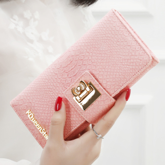 Japan and South Korea female zip buckle leather wallet women's wallet (Crocodile pattern-pink)