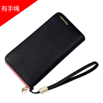 Japan and South Korea female zip student clutch bag women's wallet (Black (with bracelet))