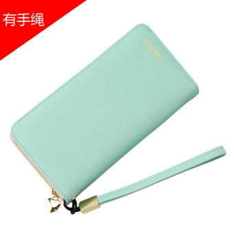 Japan and South Korea female zip student clutch bag women's wallet (Green (with bracelet))