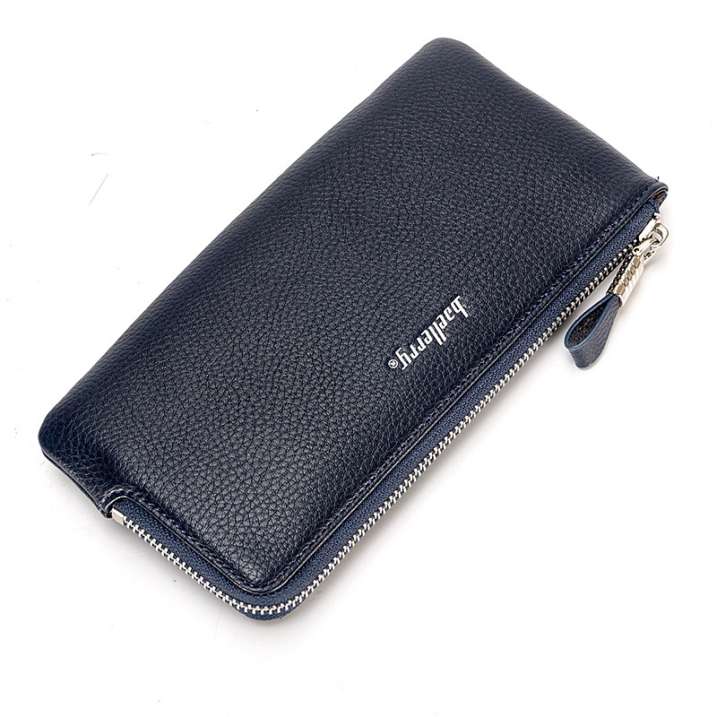 Japan and South Korea men small zip leather bag wallet (Blue no box)