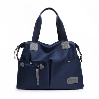 Japan and South Korea shoulder portable cross-body big bag New style women's bag (Dark blue color large) (Dark blue color large)
