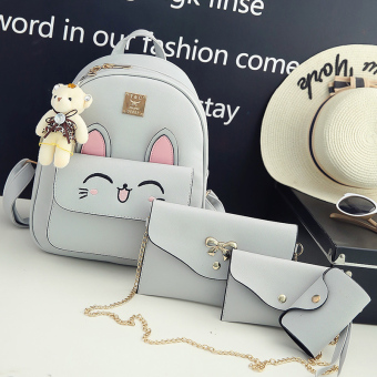 Japanese and Korean style New style female backpack women's bag shoulder bag (Ear gray 4 sets)