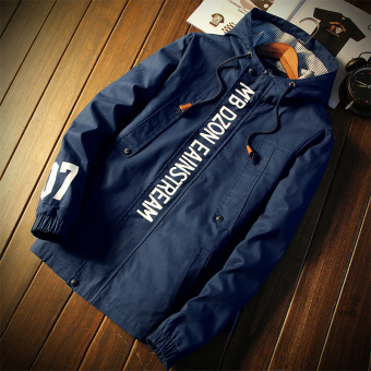 Japanese-style autumn hooded Print jacket shirt (Dark blue color)