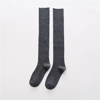 Japanese-style cotton autumn long leg socks-and knee socks (Dark gray color)