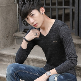 Japanese-style men long-sleeved Teenager T-shirt Shishang casual T-shirt (Black)