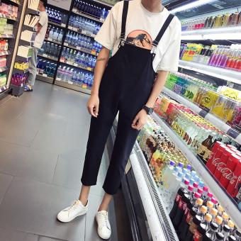 Japanese-style men's ankle-length casual pants retro overalls (Black)