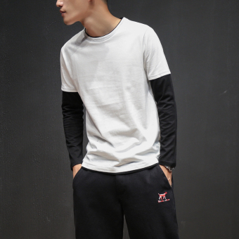 Japanese-style solid color men thin bottoming shirt New style long-sleeved t-shirt (White)