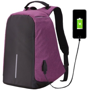 JDM 14 ~ 15.6 inch Universal Anti-theft Laptop Backpack With USB Charge Port Roomy Lightweight Business Computer Backpack Travel Knapsack College Shoulder School Bag for Teens - Purple - intl