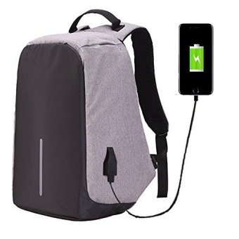 JDM Laptop Backpack,Business Laptop Bag with USB Charge Port Anti-Theft Water Resistant Casual School Bookbag for College Travel Backpack for Macbook Pro 15/ 15.6-Inch Laptop Ultrabook - Grey - intl