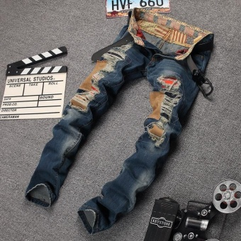 Jeans men high quality 2017 men's jeans hole Casual ripped jeans men hiphop pants Straight jeans for men denim trousers- Blue - intl