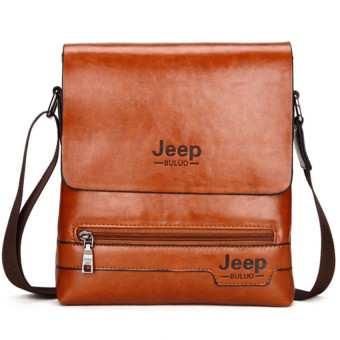 Jeep Cowhide Leather Crossbody Bag Shoulder Bag Men Tote BagBusiness Casual Messenger Bag (Small Size / Brown)