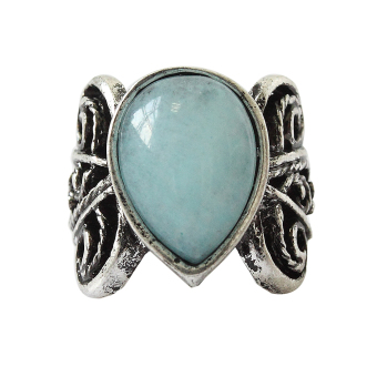 Jetting Buy Vintage Silver Blue Jade Stone Ring Wedding Gem Ring 8 - picture 2