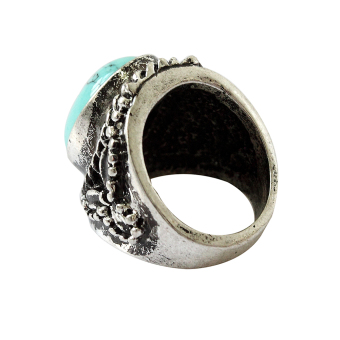 Jetting Buy Vintage Silver Green Turquoise Stone Ring Wedding 6.5 - picture 2