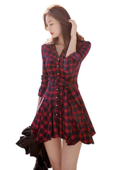 Jetting Buy Women Blouse Long Sleeve Swing Hem Dress Black+Red