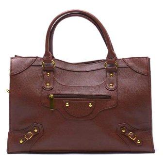 Jewelmine Pippa Stud Tote Bag (Brown)