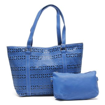 Jewelmine Vera Canterbury Eyelet Tote Bag with Sling (Blue)