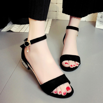 Jianyue female A-line buckle gladiator sandals Korean-style sandals (Black)