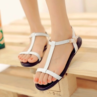 Jianyue soft bottom black student flat sandals women's shoes (White)