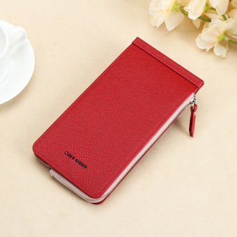 Jianyue ultra-thin wallet multi-function card holder (Bright Red)