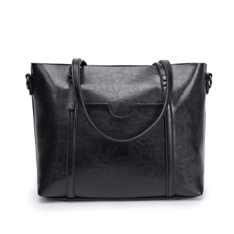Jianyue women's large capacity handbag large bag (Black [Collection product to send clutch bag card holder])