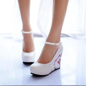 Jiayiqi Women Fashion Wedges Printed High Heels Shoes White - intl - 3