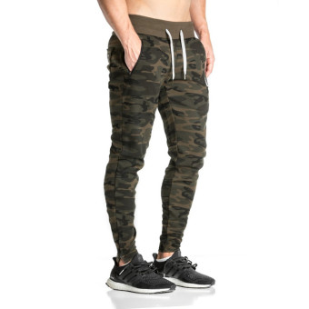 Jirouxiongdi autumn men's I fitness pants (Zip camouflage)