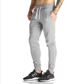 Jirouxiongdi autumn New style Men's Fitness I pants (Light gray color)