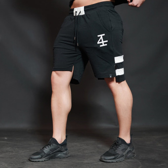 Jirouxiongdi outdoor men running fitness shorts I shorts (Black)
