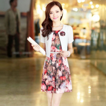 JK New style Spring and Autumn new Plus-sized dress outfit printed dress (Purple XC-1310-YJLY-J)