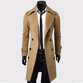 Jo.In Men's Stylish Trench Coat Winter Long Jacket Double Breasted Overcoat Outerwear