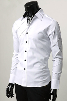 Jo.In Mens Boys Luxury Slim fit Stylish Long Sleeve Button V-Neck Dress Shirts Formal Blouse Tops (White)