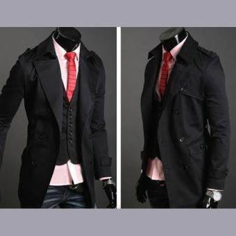 Jo.In Men's Stylish Double Breasted Long Trench Coat JacketWindbreak 2 Colors - 3