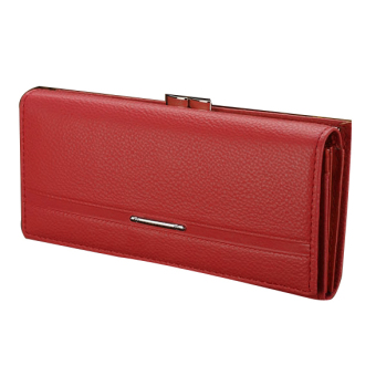 Jo.In Women High Quality Solid Button Leather Hand Bag Long Clutch Wallet Purse Red