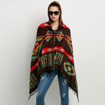 Jo.In Women Wool Blend Hooded Blanket Cloak Poncho Cape OutwearCoat Shawl - intl