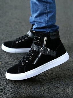 JollyChic Men's Lacing Casual Patchwork Trendy Belt Ornament Platform Boots-Black - intl - 2
