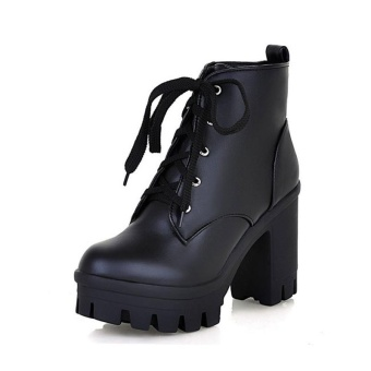 JollyChic Women's Lace Up Shoes Chunky Heel Platform Plus Size Combat Boots-Black - intl